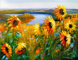 Sunflowers near the river by Olha Darchuk