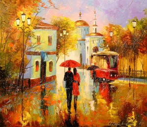 Autumn rain in the city of love by Olha Darchuk