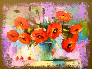 A bouquet of poppies in a vase by Olha Darchuk