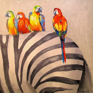 Parrots on Zebra by Olha Darchuk