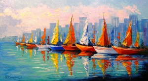 Sailboats in the Bay by Olha Darchuk