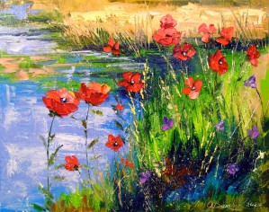 Poppies by the pond  by Olha Darchuk
