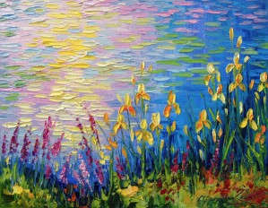 Irises by the pond by Olha Darchuk