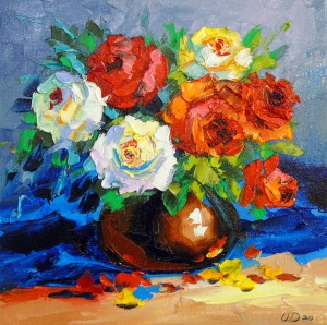 Bouquet of red and white roses by Olha Darchuk