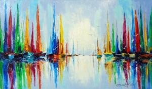 Bright sails at the pier by Olha Darchuk