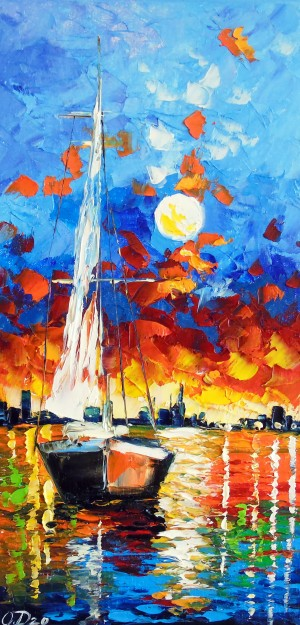 Evening sailboat by Olha Darchuk