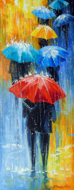 Rain in a multi-colored city by Olha Darchuk