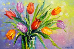 Bouquet of multi-colored tulips by Olha Darchuk