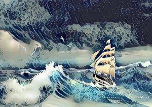 sailing ship at sea with ocean waves 3 by Radiy Bohem