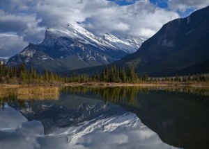 Mt. Rundle mirrors by Robert R  Grove