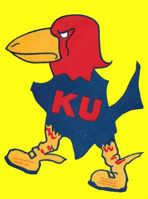 1920s vintage kansas jayhawk art poster by Row One Brand