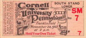1927 cornell penn ivy league football ticket stub collection by Row One Brand