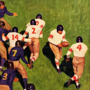 1927 Vintage Football Handoff Art by Row One Brand