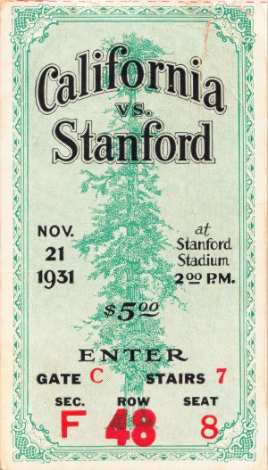1931 california stanford college football ticket stub artwork palo alto by Row One Brand
