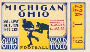 1932 ohio state michigan football ticket stub wall art by Row One Brand