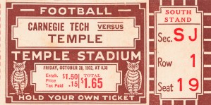 1932 temple owls college football ticket sports art gifts by Row One Brand
