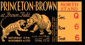 1933 brown princeton college football art ticket stub decor by Row One Brand