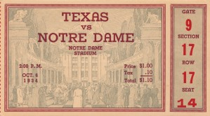 1934 texas longhorns notre dame irish south bend college football sports ticket art gift idea by Row One Brand