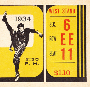 1934 Vintage Football Ticket Stub Art by Row One Brand