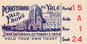 1934 yale university bulldogs football ticket stub wall art by Row One Brand