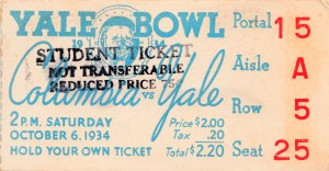 1934 yale university football student ticket yale bowl art by Row One Brand