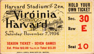 1936 harvard football season ticket stub art by Row One Brand