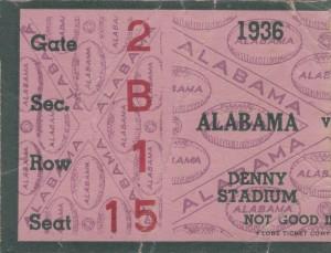 1936_College_Football_Alabama_Denny Stadium_Alabama College Football Ticket Stub Collection by Row One Brand