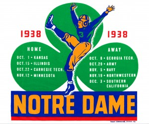 1938 notre dame football schedule wall art by Row One Brand