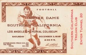 1938 notre dame irish usc trojans college football los angeles coliseum trojan club ticket by Row One Brand