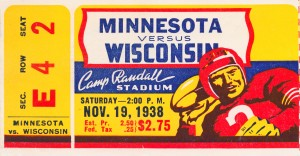 1938 wisconsin badgers football ticket stub art madison sports gift idea by Row One Brand