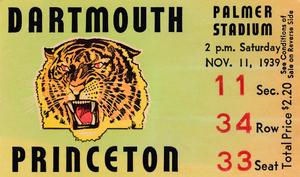 1939 Dartmouth vs. Princeton Football Ticket Stub Art by Row One Brand