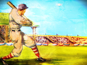 Vintage Forties Baseball Home Run Art by Row One Brand