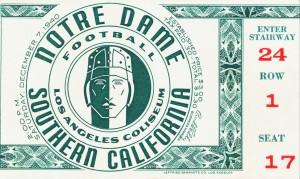 1940 notre dame usc football ticket art la coliseum sports gift idea by Row One Brand