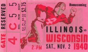 1940 wisconsin badgers illinois football ticket stub camp randall stadium madison by Row One Brand