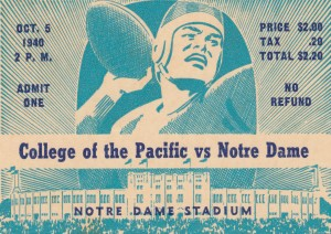 1940_College_Football_Pacific vs. Notre Dame_Notre Dame Stadium_Notre Dame Ticket Stub Art II by Row One Brand