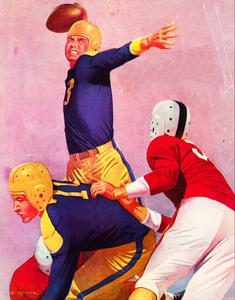 Vintage Forties Lon Keller Football Quarterback Art  by Row One Brand