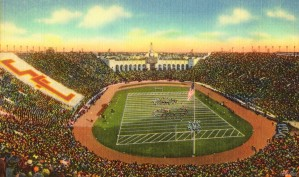 1940s Los Angeles Coliseum USC Trojans Football Art by Row One Brand