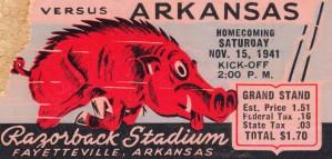 1941 Arkansas Razorbacks Ticket Stub Art by Row One Brand
