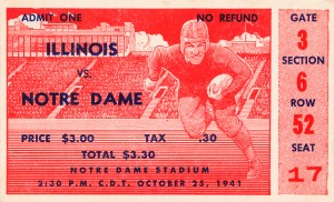 1941 illinois illini notre dame irish college football ticket sports wall art south bend indiana by Row One Brand