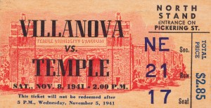 1941 temple owls villanova football ticket stub print by Row One Brand