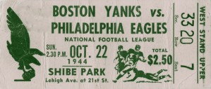 1944 philadelphia eagles boston yanks vintage football ticket stub art  by Row One Brand