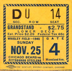 1945 chicago bears pittsburgh steelers wrigley field chicago waveland ave gate 4 by Row One Brand