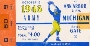 1946 michigan army ann arbor college football ticket art by Row One Brand