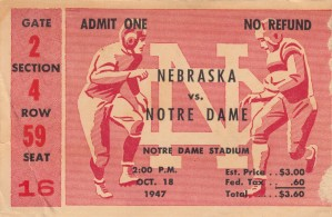1947 Nebraska vs. Notre Dame by Row One Brand