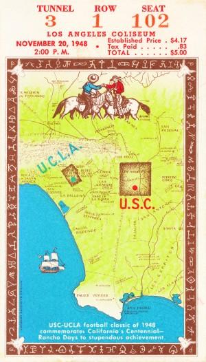 1948 usc ucla college football ticket stub wall art by Row One Brand