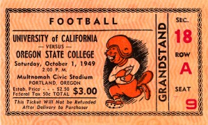 1949 california oregon state college football ticket stub canvas sports wall artwork decor by Row One Brand