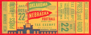 1949 nebraska oklahoma college football rivalry ticket stub wall art by Row One Brand