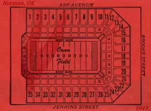 1949 owen field stadium map historic college stadiums by Row One Brand