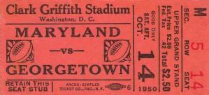 1950 maryland georgetown hoyas football ticket art by Row One Brand