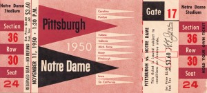 1950 pittsburgh notre dame vintage college football ticket wall art by Row One Brand